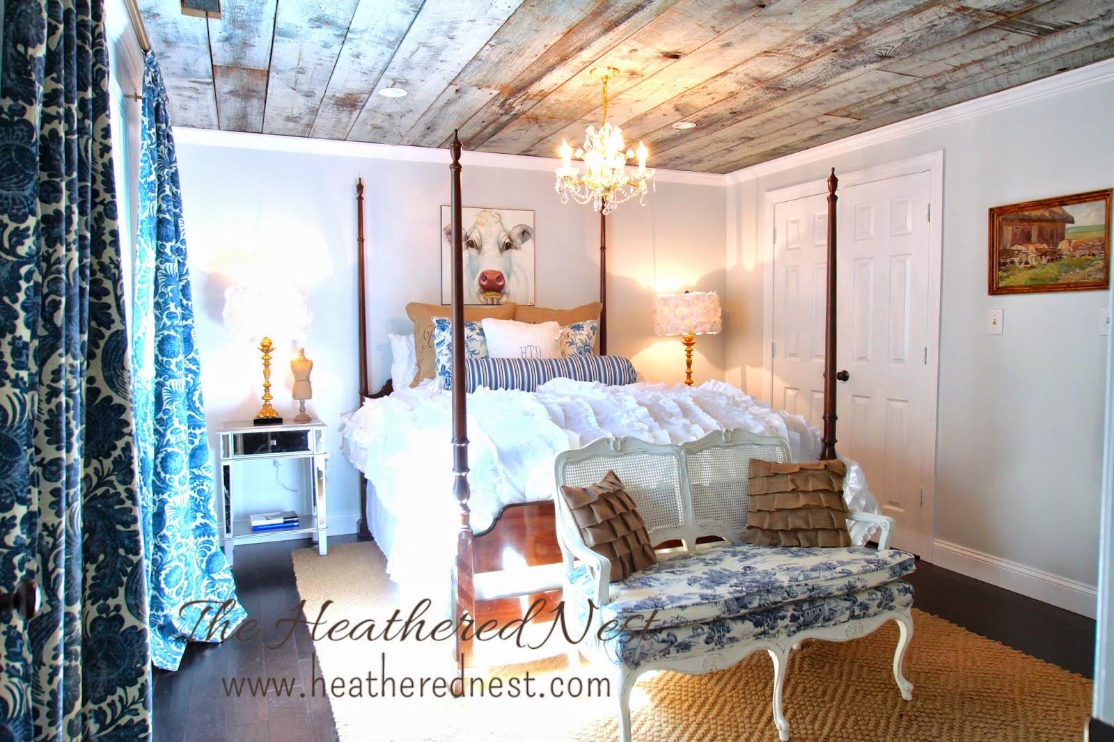 heathered nest guest room, heathered nest modern country bedroom, heathered nest be our guest, urban country design, modern country design, barnboard ceiling, toile, burlap, sisal rug