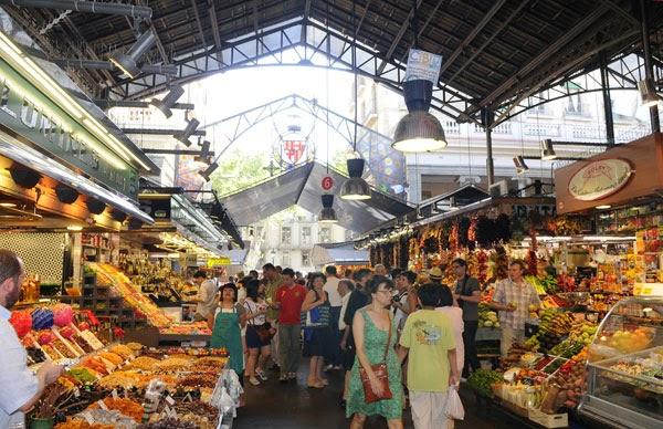 El Mercado de la Boquería, en la Rambla de Barcelona