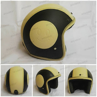 Helm Retro Vespa Model Bogo Embos Motif smile Cream