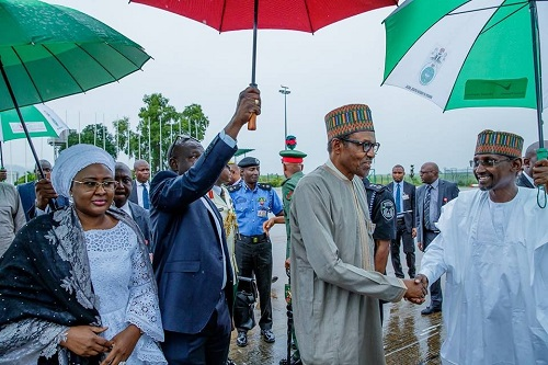 Photos Of President Buhari & Wife Departing Nigeria For US