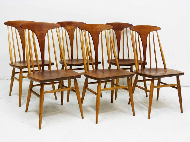 Heywood Wakefield Dowel High Back Mid-Century Doeskin Dining Chairs