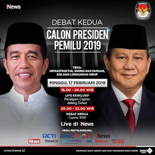 Link Live Streaming Debat Calon Presiden dan Calon Wakil Presiden Minggu, 17 Februari 2019