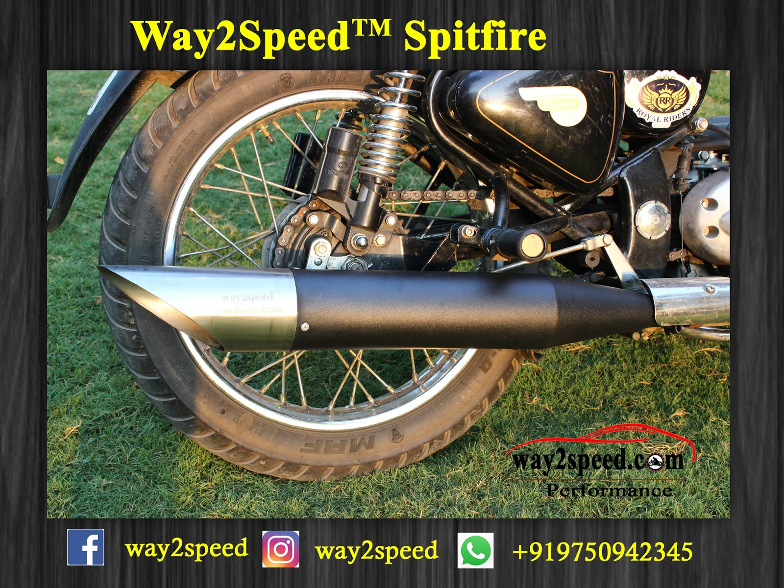 Way2Speed Spitfire Silencer For Royal Enfield  ( Royal Enfield exhaust | Best silencer for royal enfield | royal enfield classic 350 silencer sound | silencer for classic 350 | royal enfield glass wool silencer (ceramic wool) | silencer for bullet | Bullet silencer | Bullet silencer sound increase )