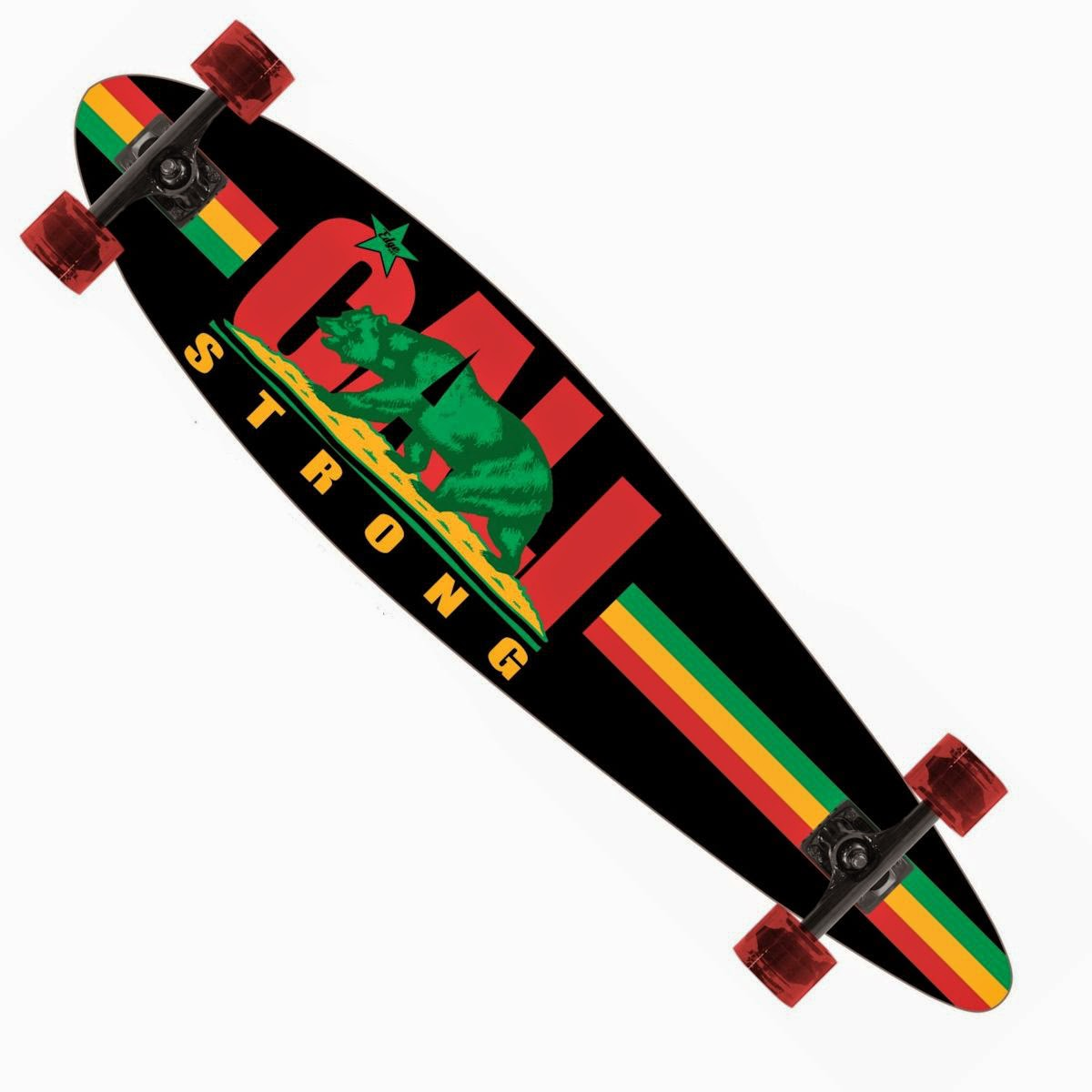 CALI Strong Rasta Longboard Pintail Complete 9.25″ x 39.25″