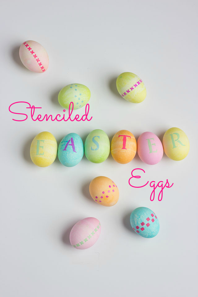 Add a special touch to your dyed Easter eggs with easy adhesive stencils and craft paint!