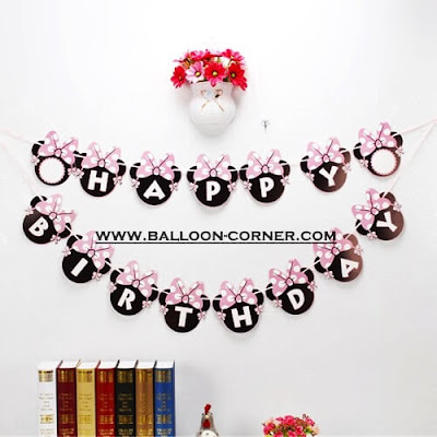 Bunting Banner Happy Birthday Motif Minnie Mouse Kupu-Kupu