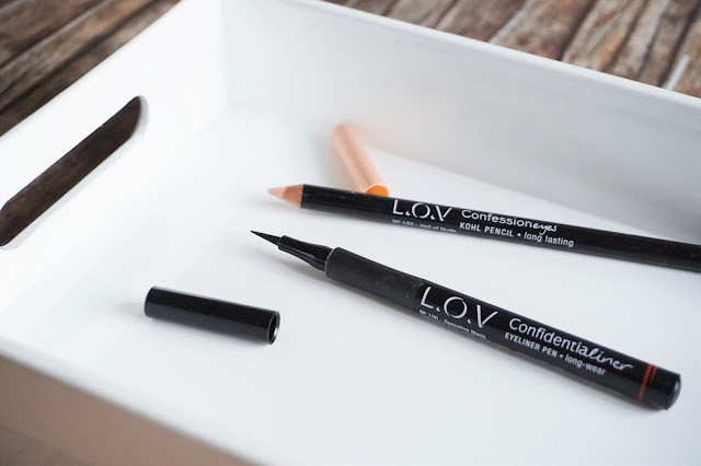 L.O.V Cosmetic Confidentaliner Eyeliner Pen in 100 Secretive Black, Confessioneyes Kohl Pencil in 120 Veil of Nude