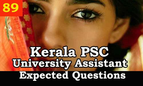 Kerala PSC Model Questions for University Assistant Exam 2019 - 89