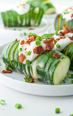 Loaded Hasselback Zucchini from Peas and Crayons featured for Low-Carb Recipe Love on Fridays (8-12-16) found on KalynsKitchen.com