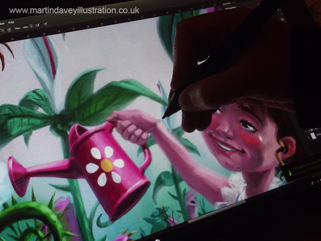 M P davey girl watering horror plant painting working