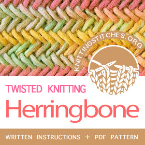 Herringbone Stitch Pattern is found in the Twist and Cable Stitches category. FREE written instructions, PDF knitting pattern #knitting #knitt #knittingstitchpattern #knittingstitches