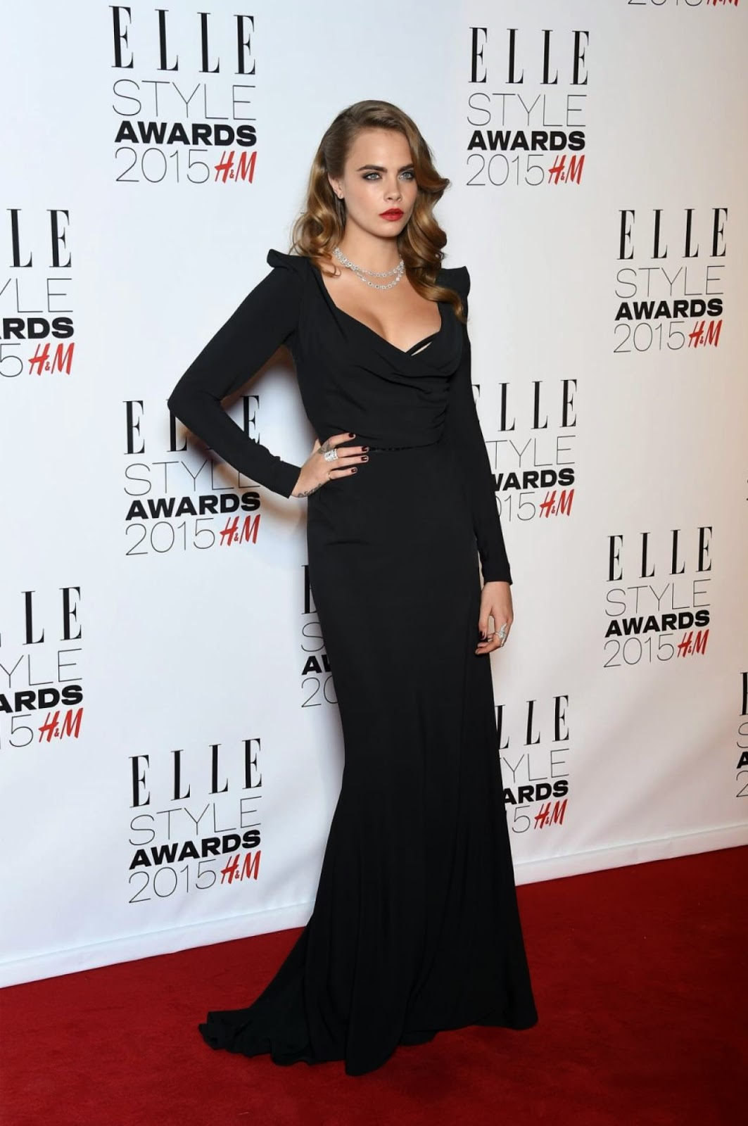 Cara Delevingne is elegant in black at the 2015 Elle Style Awards in London