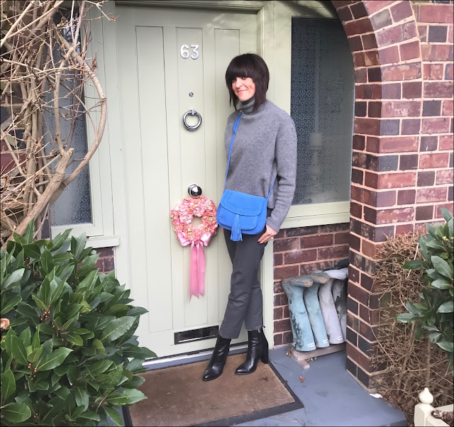 My Midlife Fashion, Suede Tassel Cross body bag, Zara cropped polo neck jumper, the white company ultimate oxford flannel trousers, zara block heel ankle boots