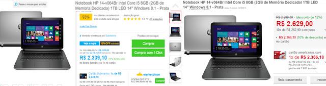 exemplos de comparacao entre ofertas de notebook