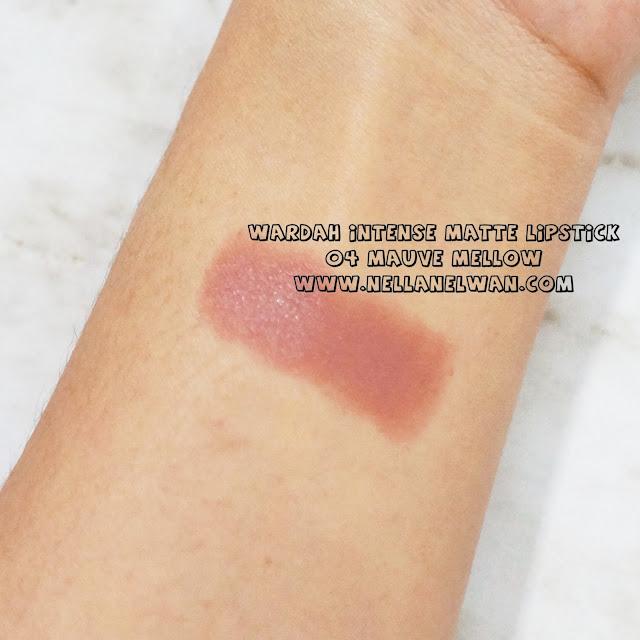 wardah intense matte lipstick mauve mellow swatch