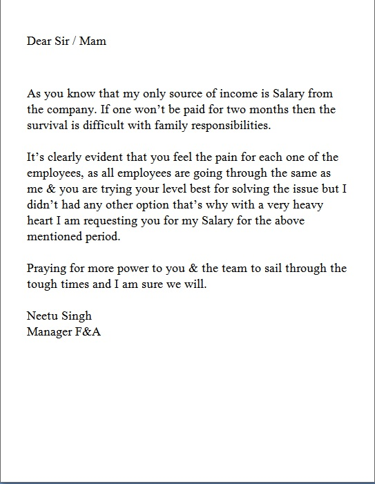 Request Letter For Delayed Salary Payment