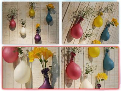 Como hacer Floreros Colgantes con Globos de Colores