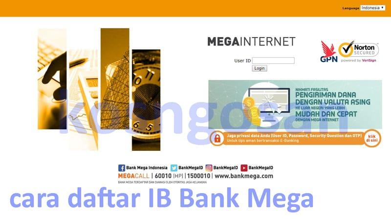 cara daftar internet banking bank mega