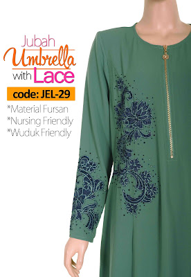 Jubah Umbrella Lace JEL-29 Sea Green Depan 7