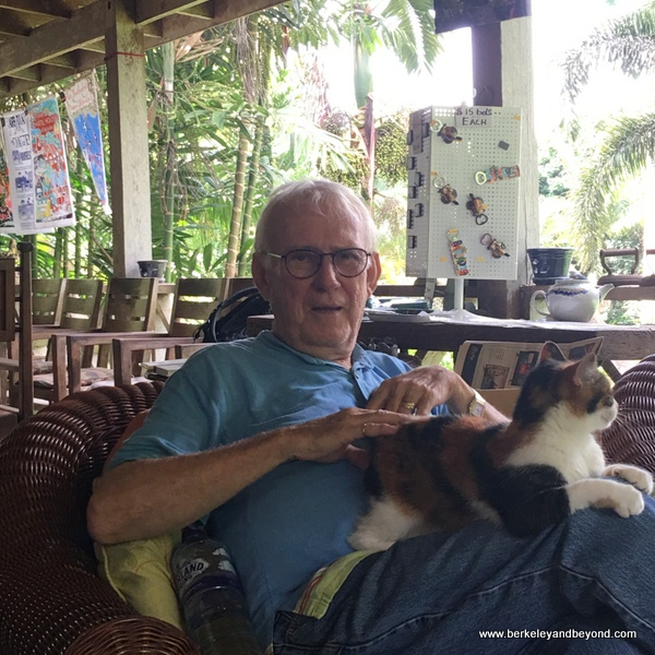 after-tour relaxation with Anthony Hunte and cat Marble at Hunte's Gardens in Barbados