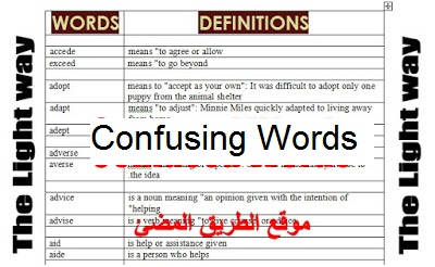كلمات متشابهة فى النطق او المعنى تسبب ارتباك عند المتعلم او المعلمين ,Confusing Words