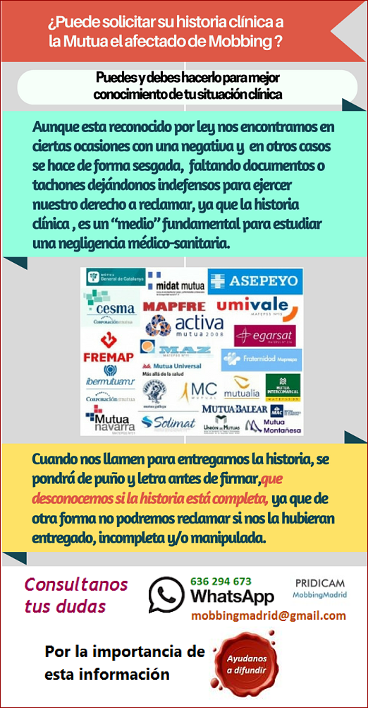 MobbingMadrid Puede solicitar su historial clínico a la Mutua Laboral el afectado de Acoso laboral Mobbingmadrid Modelo petición historia clinica