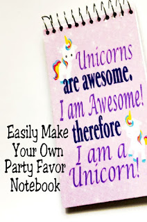 Easily make your own personalized party favors for any party theme with these easy notebook party favors.  Using these simple step by step directions, you can make a notebook out of a fun printable that's perfect for any party. #partyfavor #unicorn #notebook #diynotebook #upcyclenotebook #diypartymomblog