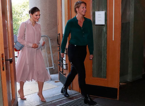 Princess Victoria wore Ralph Lauren Rose Maxine Pleated Silk Shirtdress, Gianvito Rossi Pumps, carried Valentino shoulder Bag