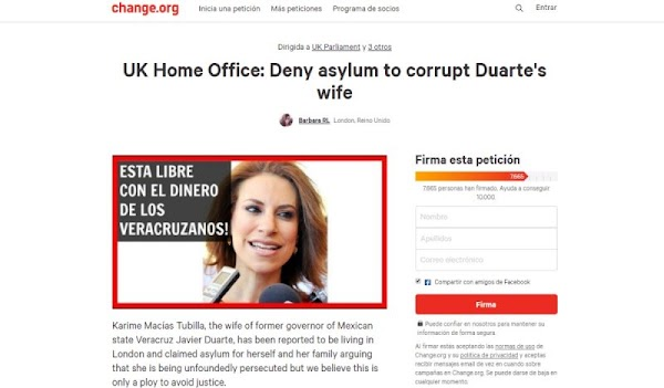 Ya son miles de londinenses que han firmado en para negar asilo a  la corrupta esposa de Javier Duarte