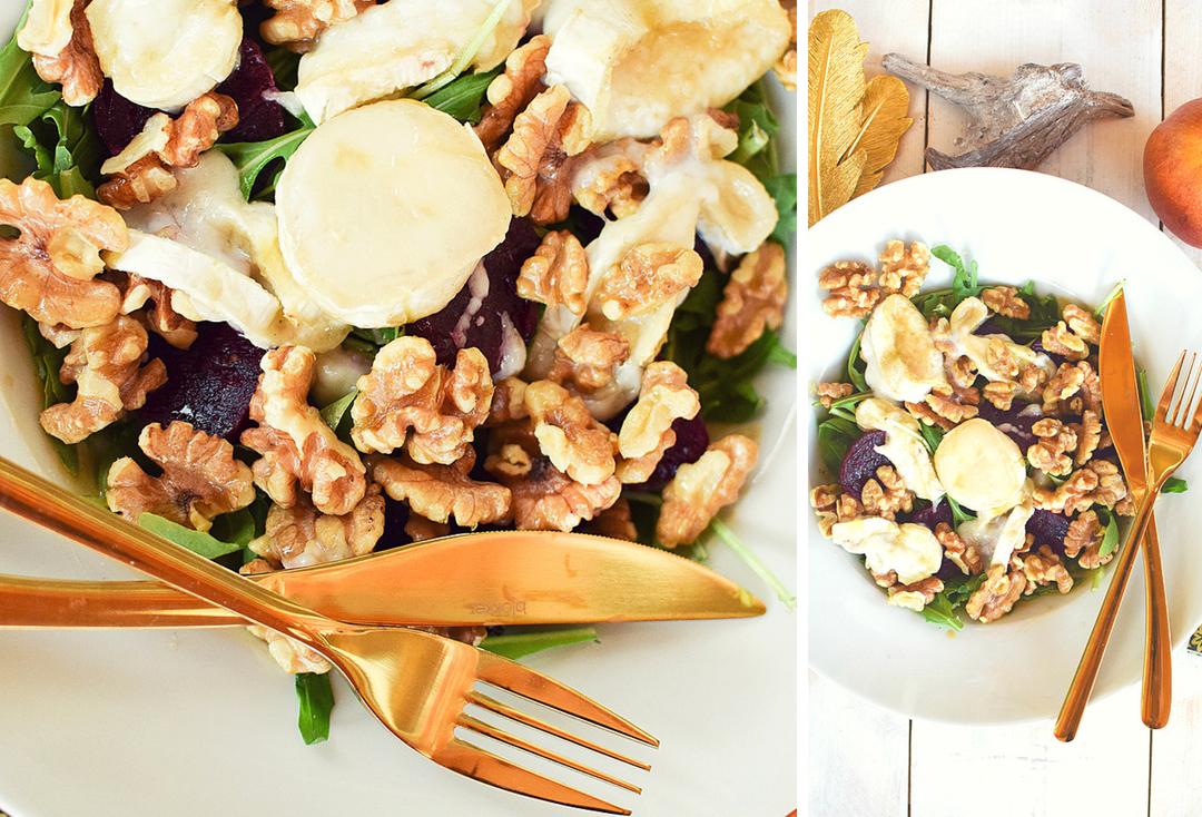 Ziegenkäse und Walnüsse mit Honig, Salat