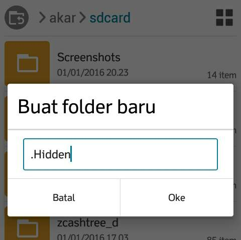 how to create hidden file folders on android