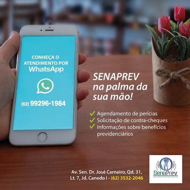 Senador Canedo: Senaprev disponibiliza serviços pelo WhatsApp