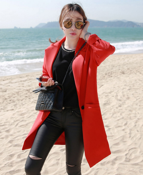 Single Button Mid-Thigh Length Coat