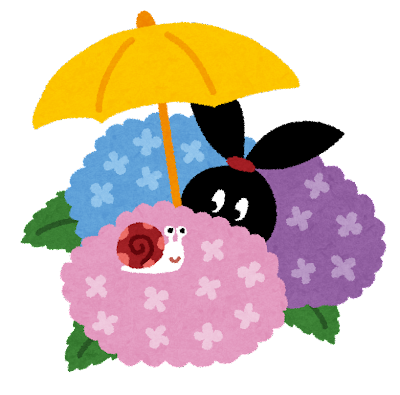 紫陽花とカタツムリのイラスト