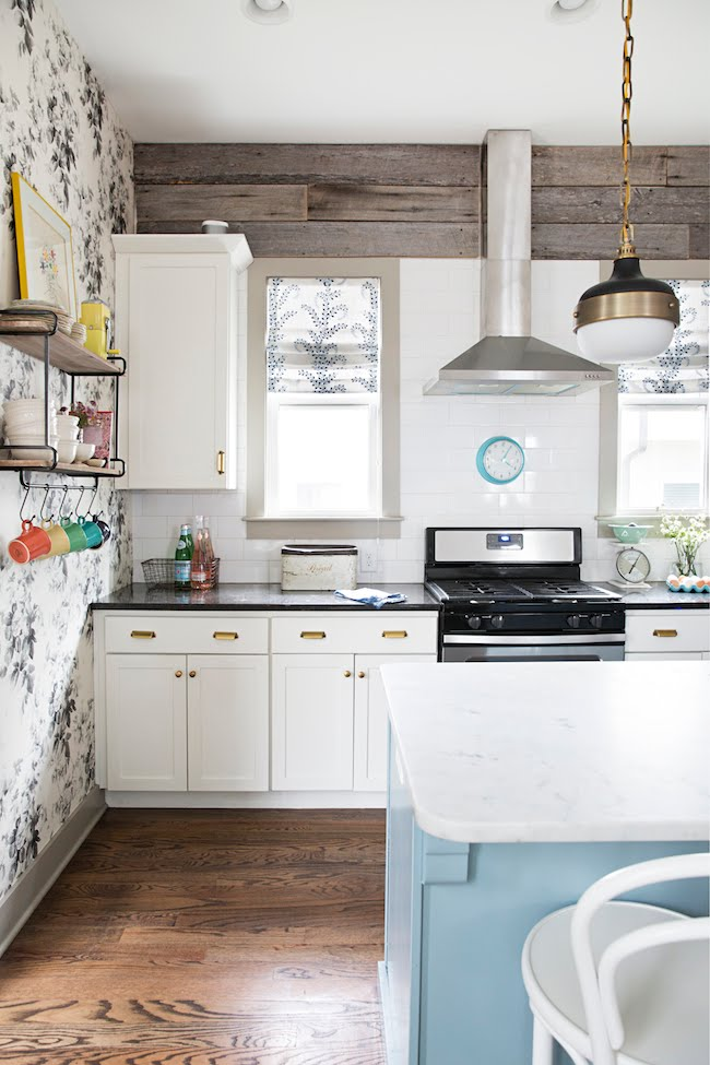 Colorful eclectic kitchen with wallpaper - Black and White and Loved All Over blog by Ellen Mallernee Barnes