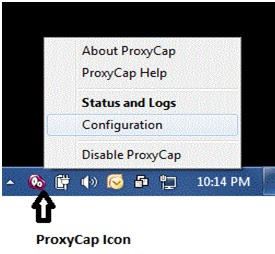 Right click on the ProxyCap taskbar icon and then click on the 'Configuration' option among the list.