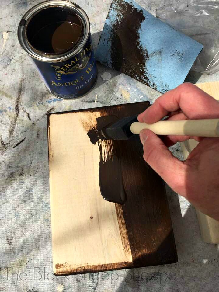 Applying gel stain with a foam brush