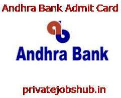 Andhra Bank Admit Card
