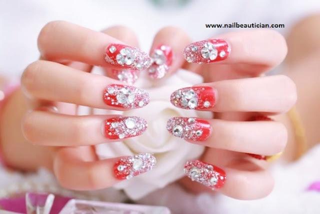 Glittery fancy nail art