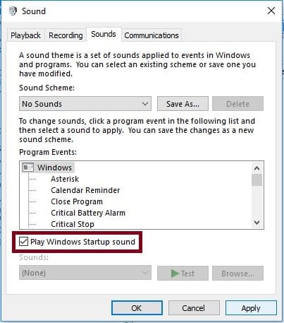 Care mengaktifkan Suara Startup Windows Windows 10 3
