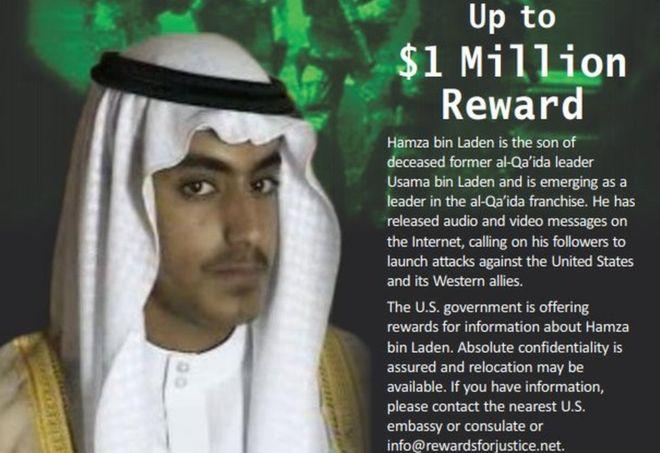 US offers $1 million reward to find bin Laden's son