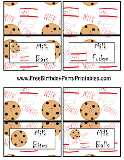 Milk And Cookie Birthday Party Printables- Free Cutouts- Food Cards