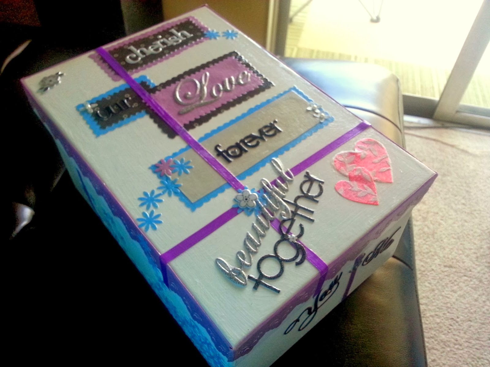 Use Wedding Colors To Personalize A Memory Box Here I Used Purple And Blue