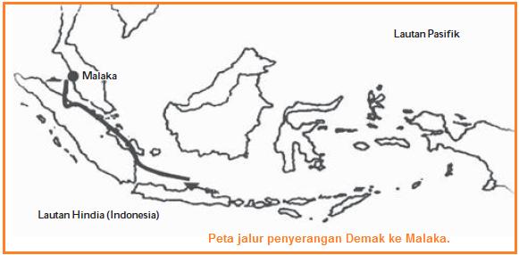 Peta jalur penyerangan Demak ke Malaka Terhadap Portugis