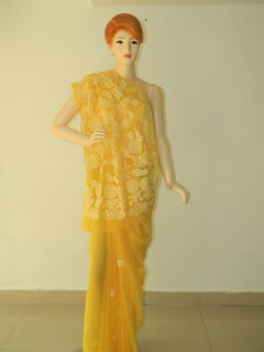 Lucknowi Chikan Yellow Georgette Saree