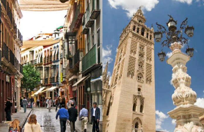Calle del centro de Sevilla con toldos, y La Giralda.
