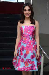 Actress Tamanna Latest Images in Floral Short Dress at Okkadochadu Movie Promotions  0008.JPG