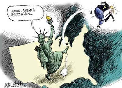 Lady Liberty boots Trump