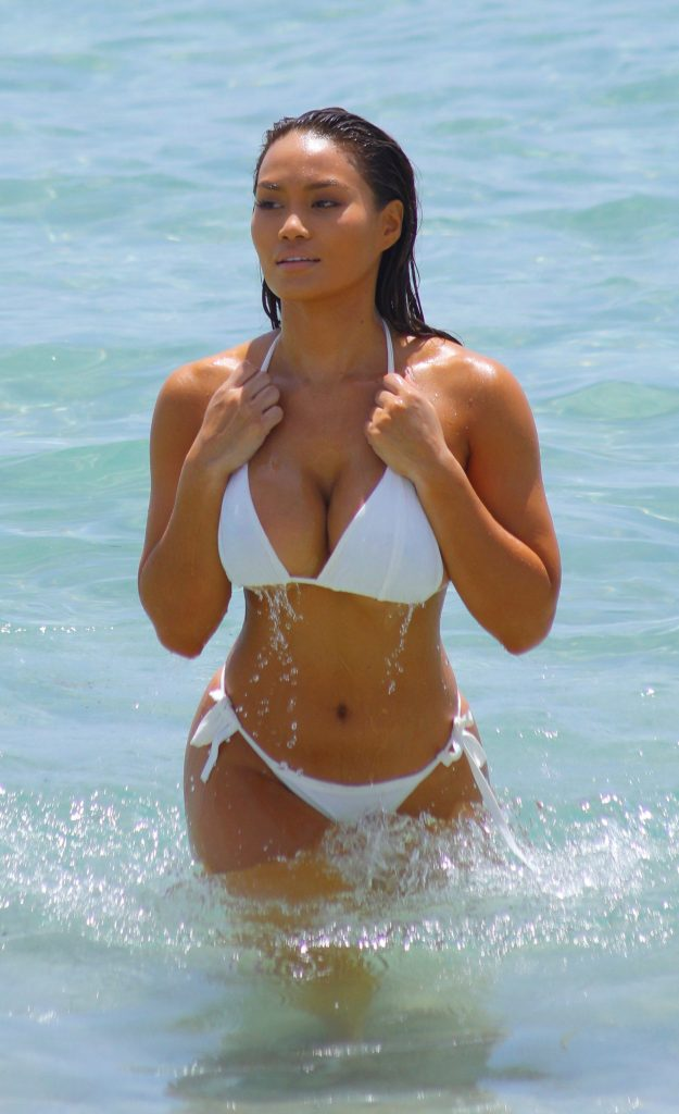 Daphne Joy In White Bikini On The Beach Miami Fuskator 1