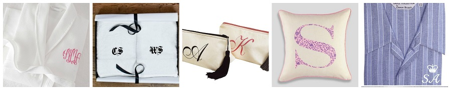Monogram Gifts, Monogrammed robe, monogram towel, initial cushion